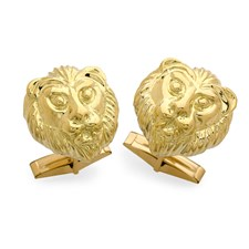 RAMPANT LION CUFFLINKS ROUND POLISHED PEWTER ENAMELLED INLAYED MADE IN SCOTLAND