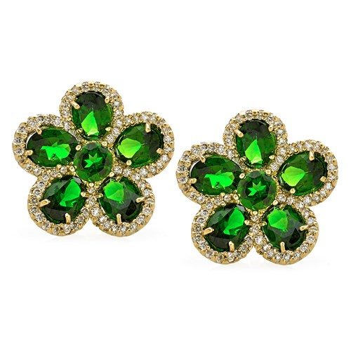 18K Yellow Gold Flower Petal Chrome Diopside & Diamond Earrings, Clips