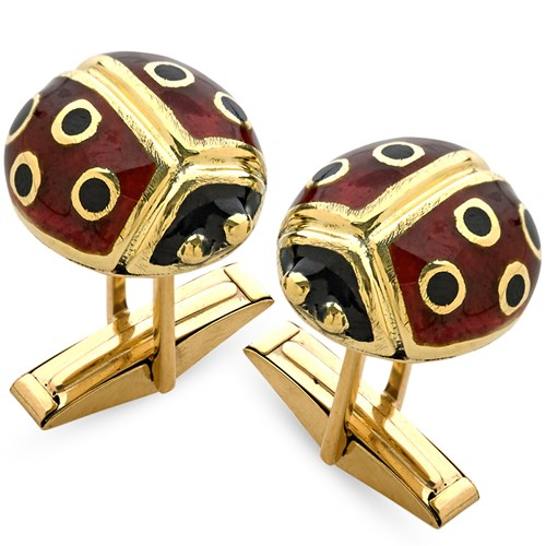 18K Yellow Gold Enamel Ladybug Cufflinks