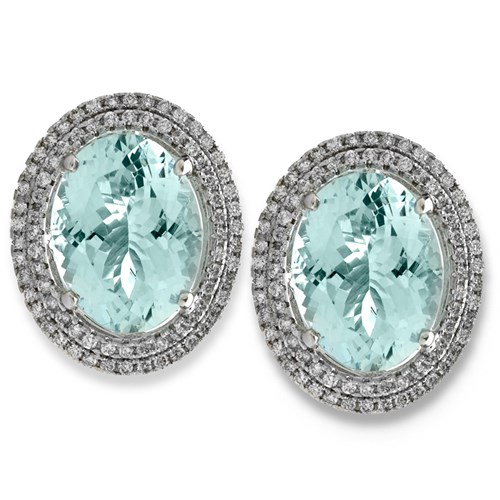 18K White Gold Aquamarine & Diamond Halo Earrings, Clips