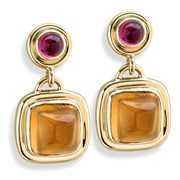 18k Gold Citrine and Rubellite Earrings, Posts Only