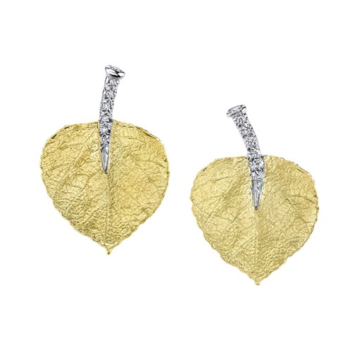 19k Yellow Gold Aspen Leaf Diamond Stem Earring Posts