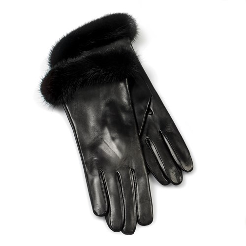 Black with Mink Ladies' Gloves - Small