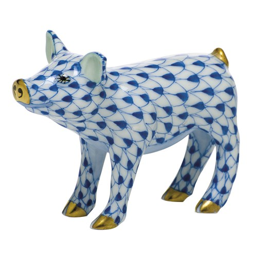 Herend Smiling Pig, Sapphire