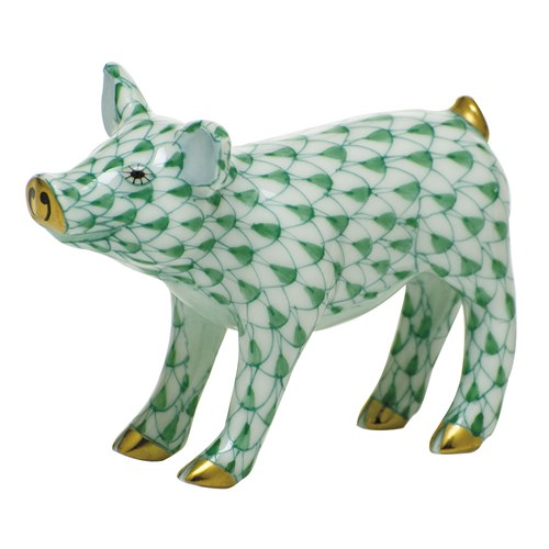 Herend Smiling Pig, Green