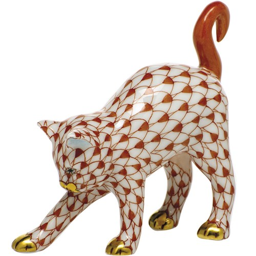 Herend Arched Cat, Rust