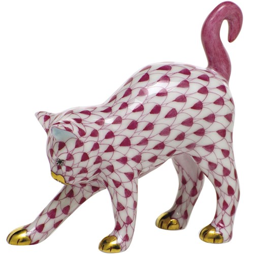 Herend Arched Cat, Raspberry