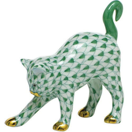 Herend Arched Cat, Green