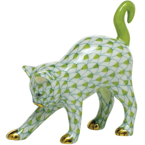 Herend Arched Cat, Key Lime