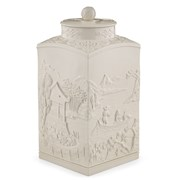 Mottahedeh Figure Square Tea Jar with Cover