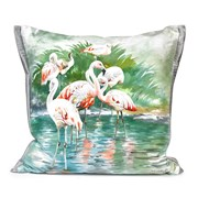 Handpainted Flamingo Silk Pillows