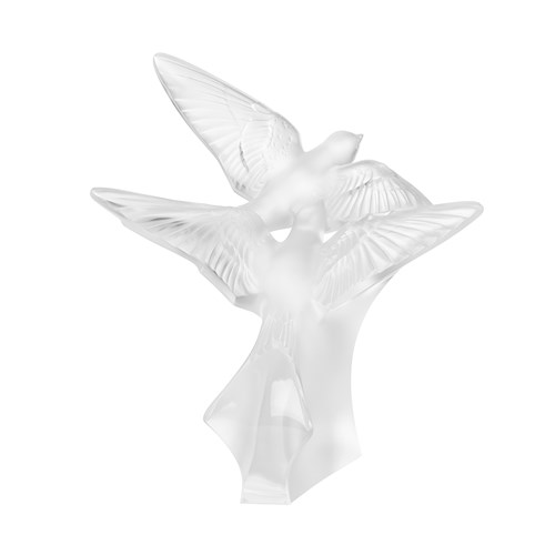 Lalique Two Swallows Sculptures