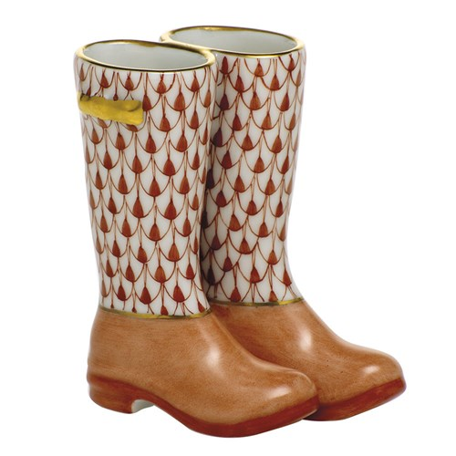 Herend Pair of Rain Boots, Rust