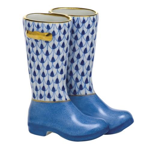 Herend Pair of Rain Boots, Sapphire