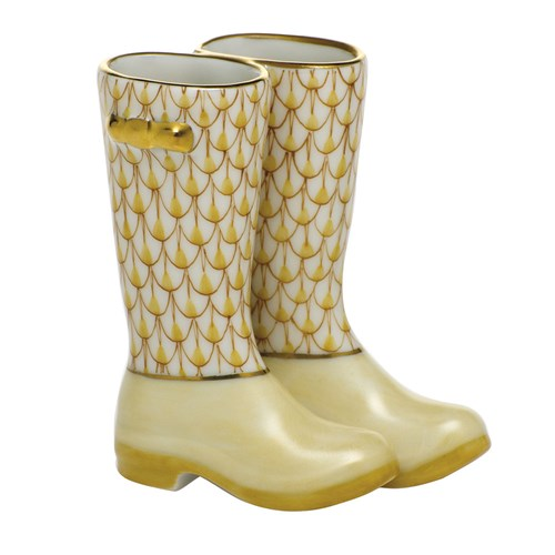 Herend Pair of Rain Boots, Butterscotch