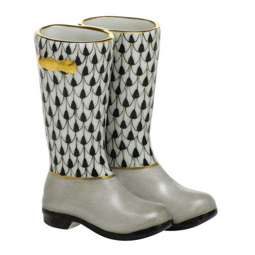 Herend Pair of Rain Boots, Black