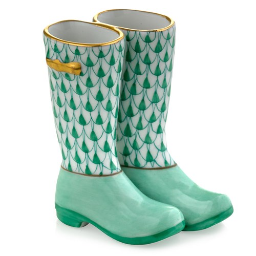 Herend Pair of Rain Boots, Green