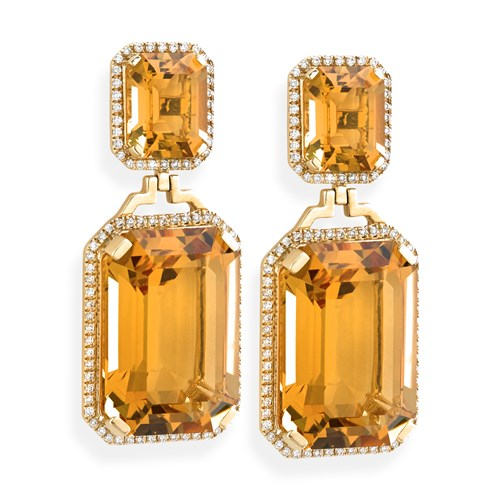 Citrine Earrings with Diamonds