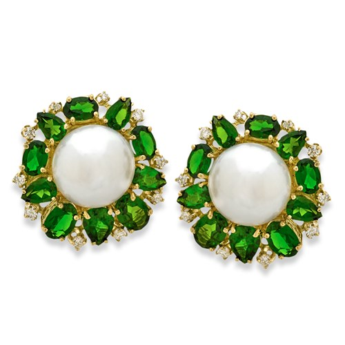 Diamond and Pearl Earrings, Chrome Diopside