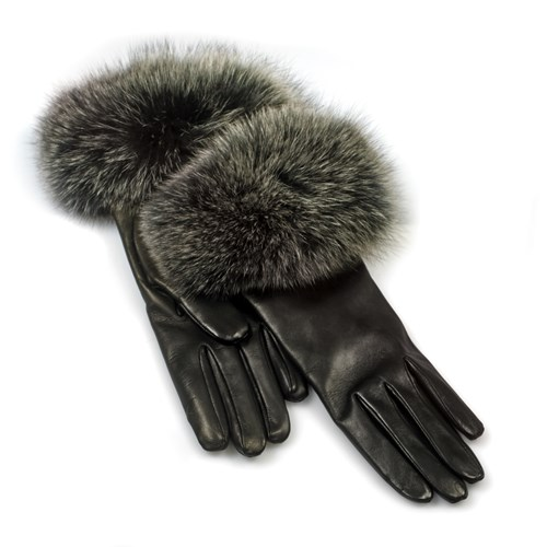 Ladies' Gloves, Black with Fox