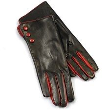 Ladies' Gloves, Black with Red Buttons