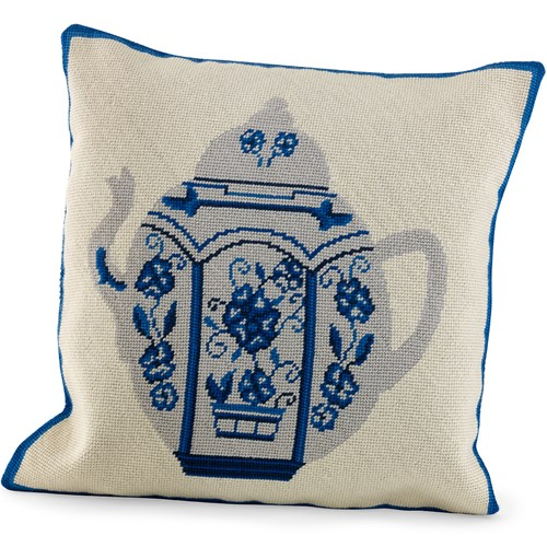 Blue & White Teapot Needlepoint Pillow