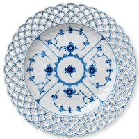Royal Copenhagen Blue Fluted Full Lace Cake Plate - Open Border