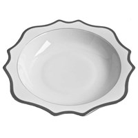 Anna Weatherley Antique White with Brushed Platinum Salad Serving Bowl