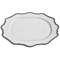 Anna Weatherley Antique White with Brushed Platinum Oval Platter