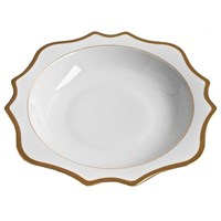Anna Weatherley Antique White with Gold Salad Serving Bowl