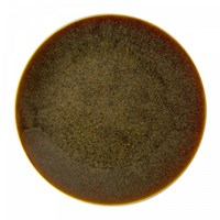 Art Glaze Flamed Caramel Coupe Plate, Medium
