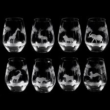 Queen Lace Crystal Stemless Wine Glasses, African Wildlife