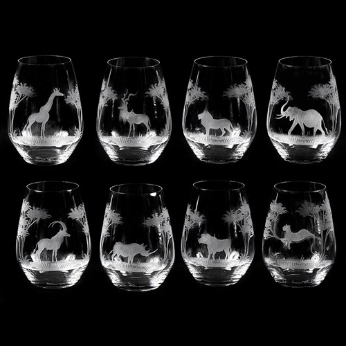 1f3a5e2cf2b Queen Lace Crystal Stemless Wine Glasses African Wildlife   Queen ...