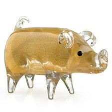 Crystal Pig Sculpture, Gold