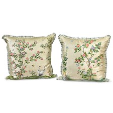 Chinoiserie Birds and Flowers Silk Pillows