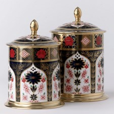 Royal Crown Derby Old Imari Solid Gold Band Storage Jars