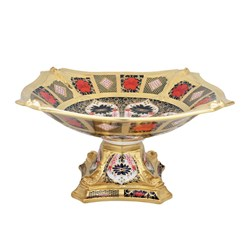 Royal Crown Derby Old Imari Solid Gold Band Dolphin Centerpiece