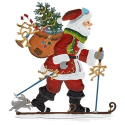 Pewter Santa Hitting the Slopes