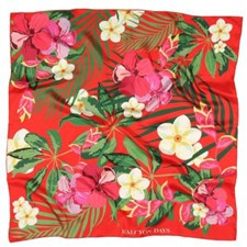 Halcyon Days Tropical Flowers Red Silk Scarf