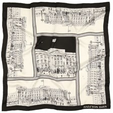 Halcyon Days Buckingham Palace Black Silk Scarf