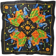 Halcyon Days Elephant Array Black Silk Shawl