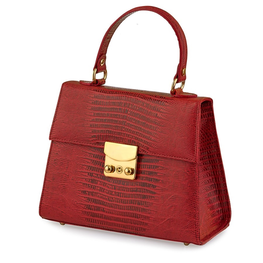 6880450b9ac9 Large Faux Lizard Leather Bag, Red