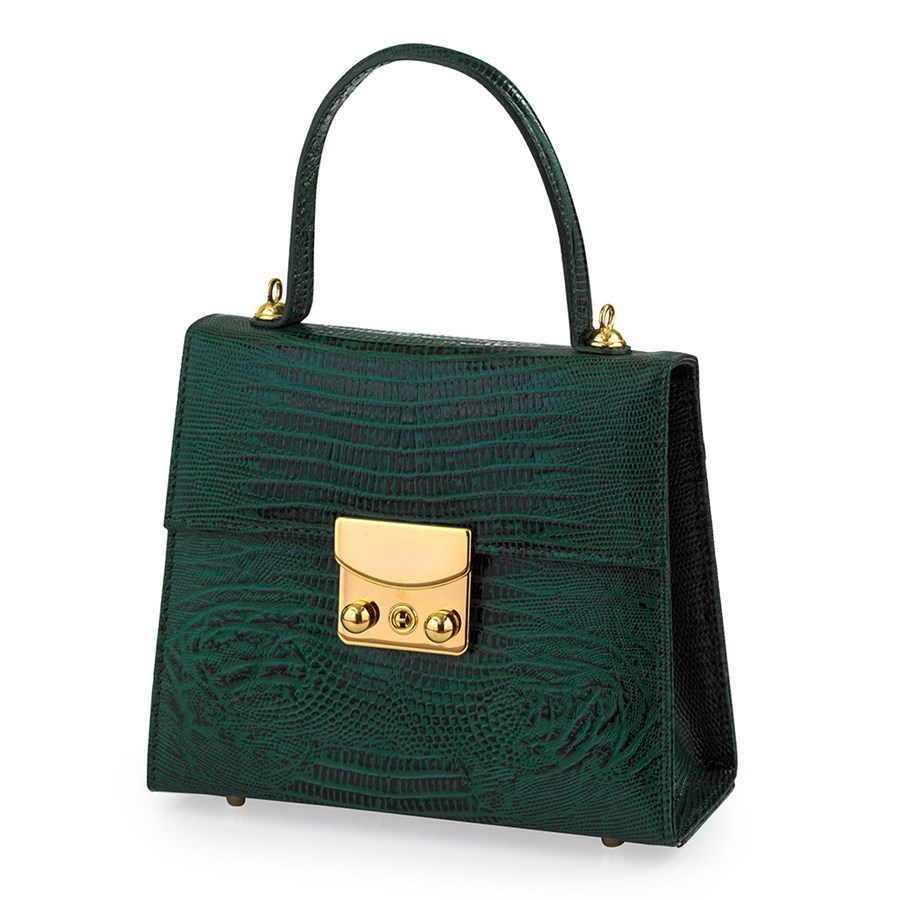 496e4782109f Large Faux Lizard Leather Bag, Green