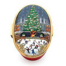 Halcyon Days Christmas in New York Oval Enamel Box