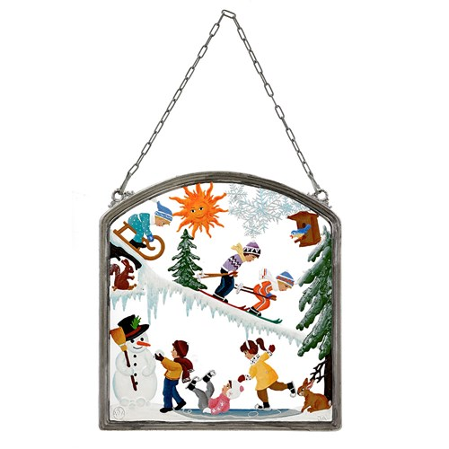 Pewter Winter Fun Wall Hanging