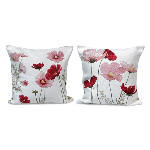 Cosmos Flowers on White Pillows