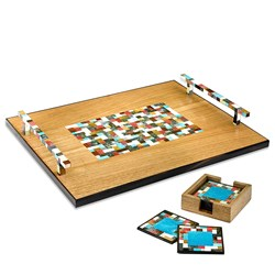 Teak Wood Tray and Coaster Set with Contemporary Checkered Pattern
