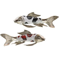 Silverplated Koi Fish with Crack Kabibe Shell