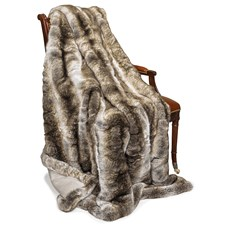 Faux Fur Sand Wolf Throw