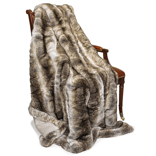 Faux Fur Sand Wolf Australian Geelong Wool Throw